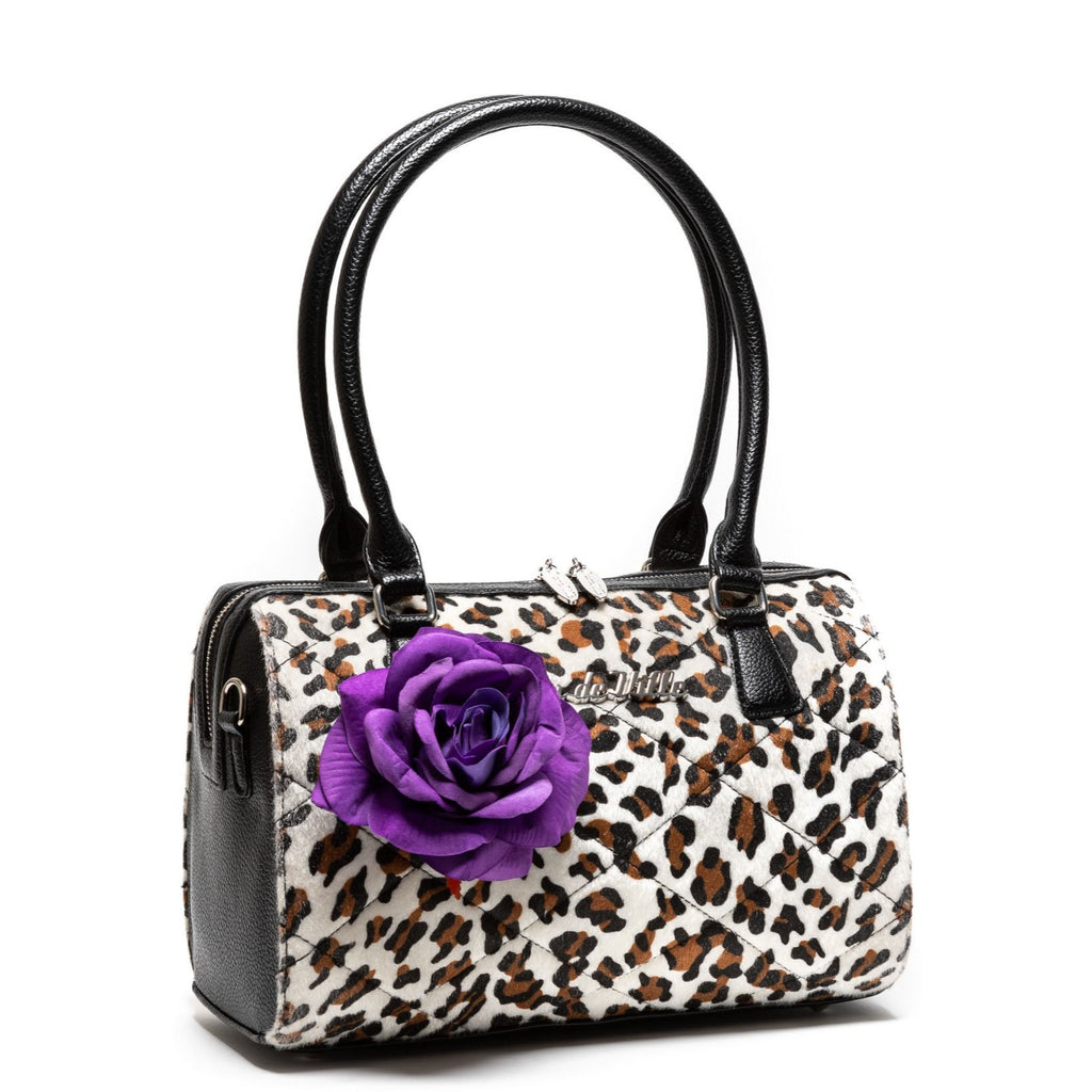 Leopard with Purple Rose Valentine Medium Tote