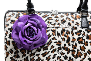 Leopard & Purple Rose Valentine Large Tote