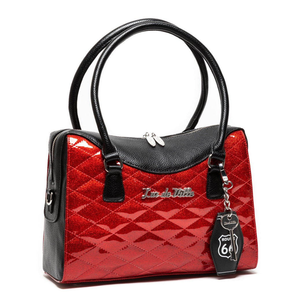 Red Rum Sparkle & Black Route 66 Handbag Tote