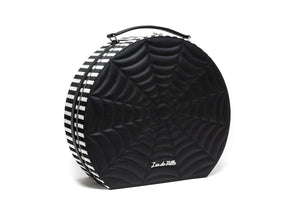 Haunted Giant Hatbox Black Matte with Black and White Stripe