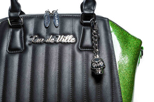 Monster Green Sparkle & Black Matte Lady Vamp Handbag