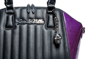 Poisonous Purple Sparkle & Black Matte Lady Vamp Handbag