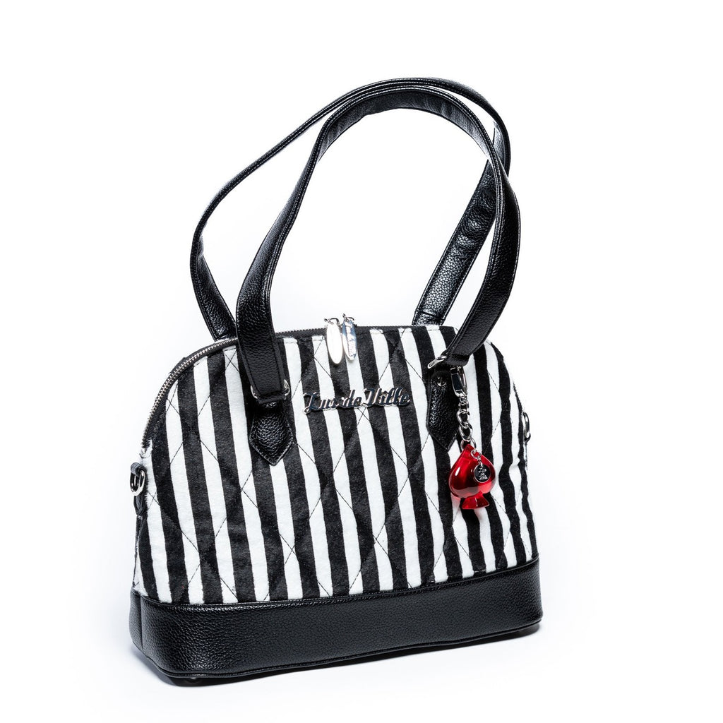 Striped Black & Black White Medium Trixie Tote