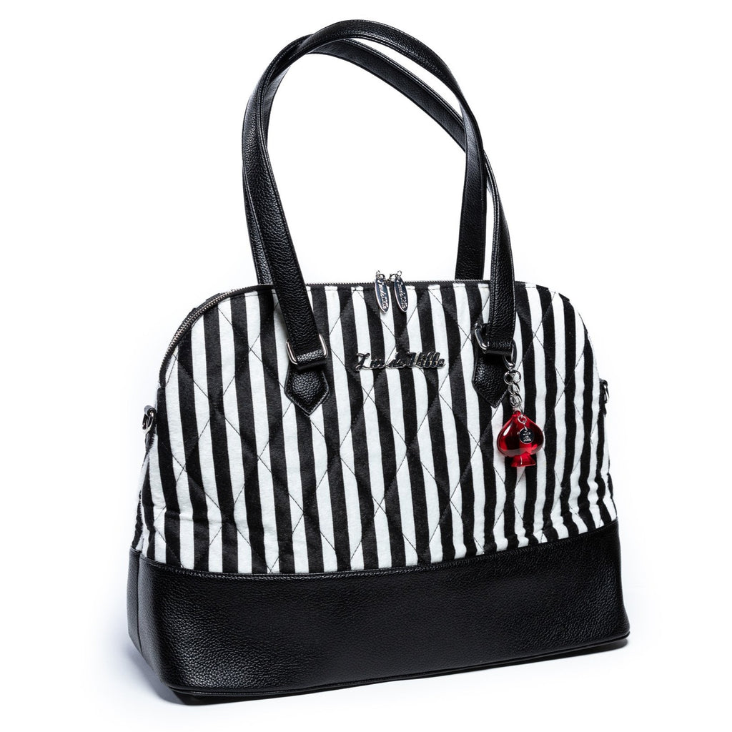 Striped Black & Black White Large Trixie Tote