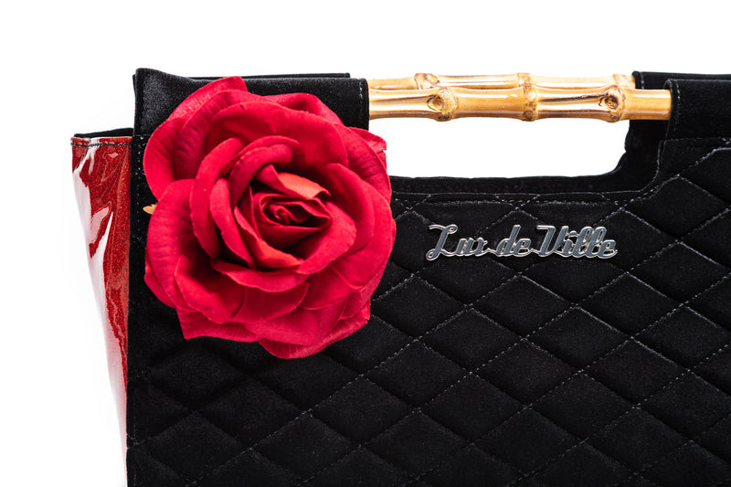 Red Rum Sparkle & Black Velvet Paradise Clutch