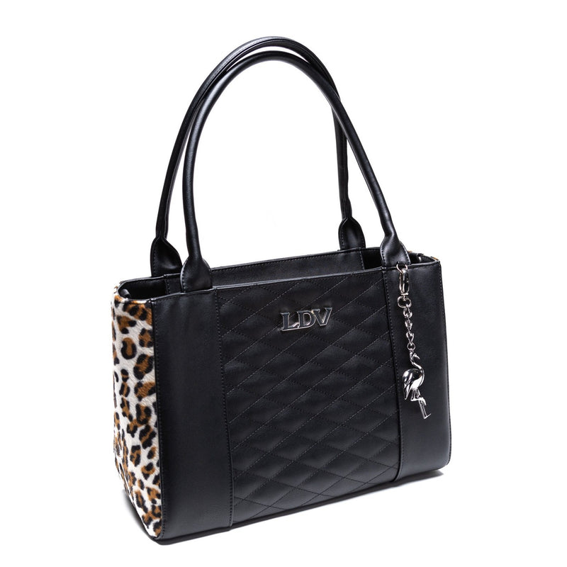 Black Matte and Leopard Cha Cha Tote