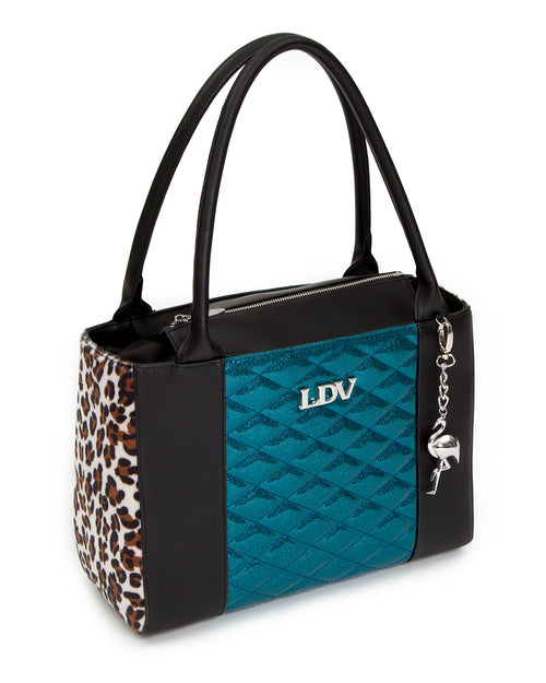 Cha Cha Tote Black Matte with Endless Sea Sparkle and Leopard - Mini Atomic Totes