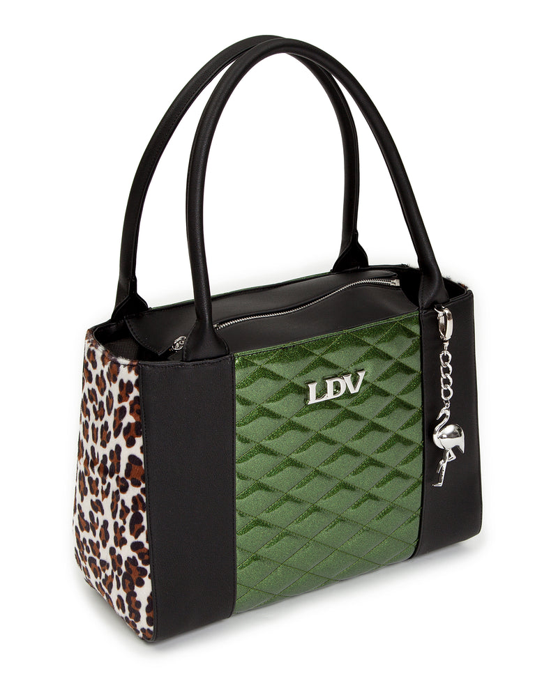 Cha Cha Tote Black Matte with Martini Green Sparkle and Leopard - Mini Atomic Totes