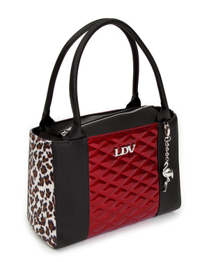 Cha Cha Tote Black Matte with Crimson Red Sparkle and Leopard - Mini Atomic Totes