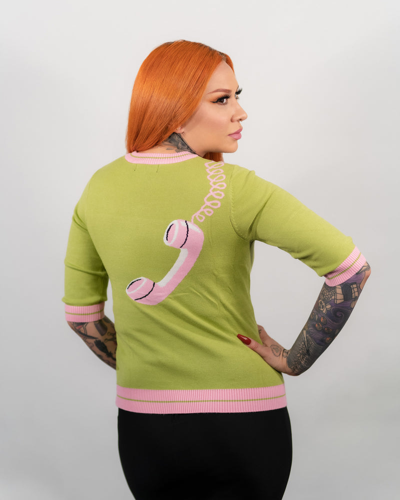 Green Hold On Phone Sweater