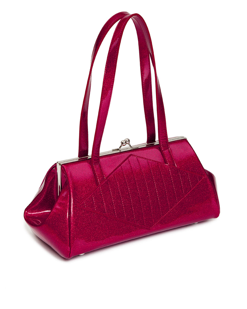 High Roller Handbag Kiss Lock Razzberry Sparkle - Mini Atomic Totes