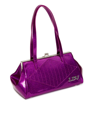 High Roller Handbag Kiss Lock Electric Purple Sparkle - Mini Atomic Totes