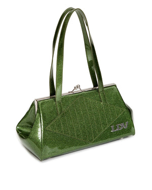 High Roller Handbag Kiss Lock Martini Green Sparkle - Mini Atomic Totes