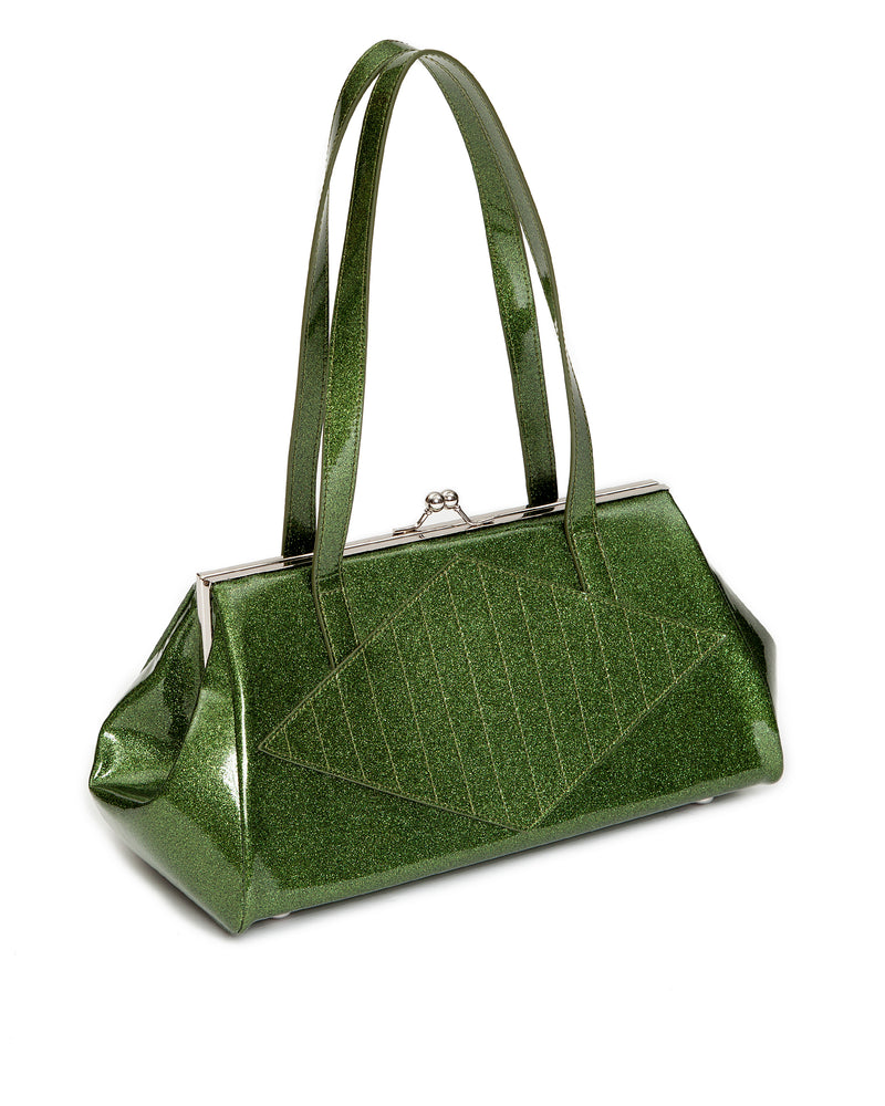 High Roller Kiss Lock Martini Green Sparkle - Mini Atomic Totes