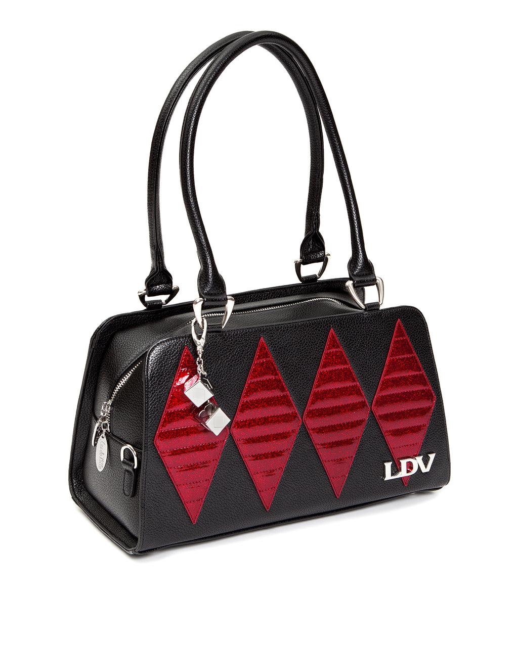 Crimson Red Sparkle High Roller Handbag Black Matte - Mini Atomic Totes
