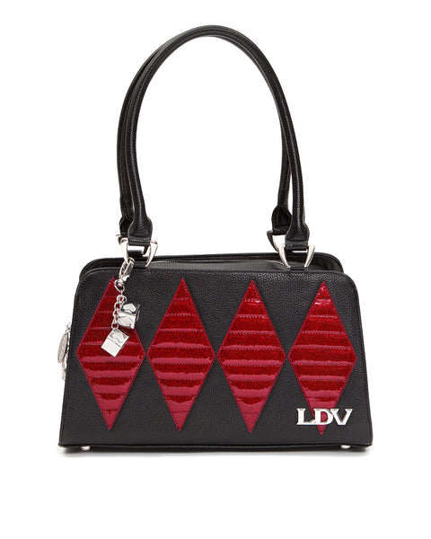 High Roller Tote Black Matte with Crimson Red Sparkle - Mini Atomic Totes