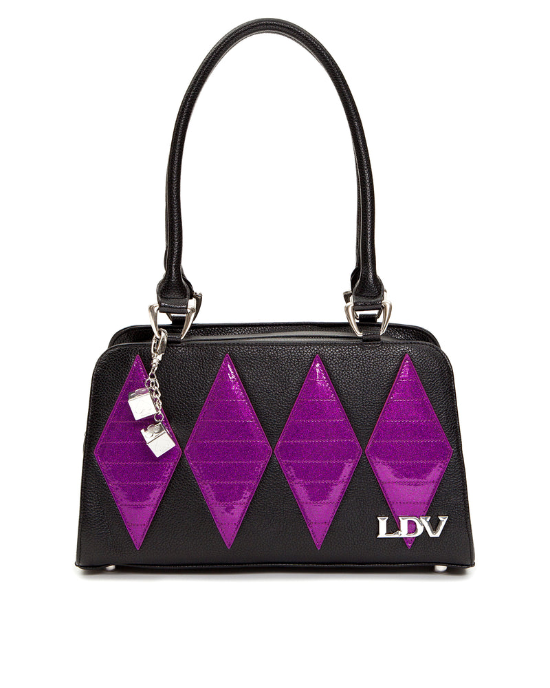 High Roller Handbag Black Matte with  Electric Purple Sparkle - Mini Atomic Totes