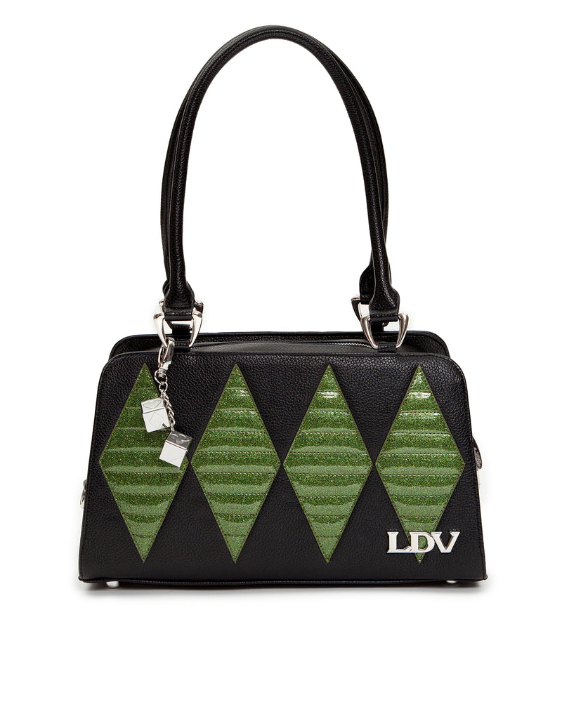 High Roller Handbag Black Matte with Martini Green Sparkle - Mini Atomic Totes