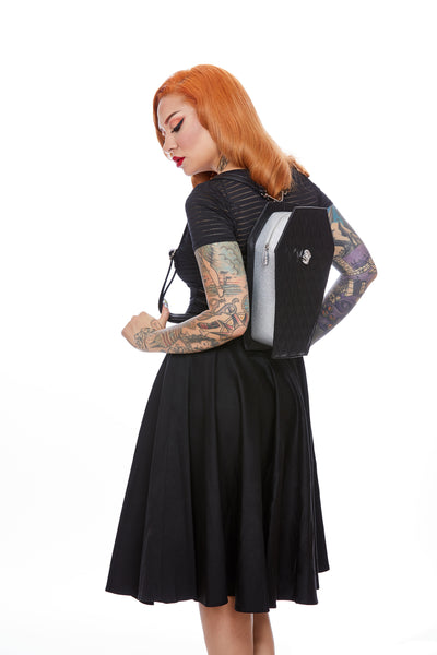Elvira Coffin Backpack Black Matte and Silver Thunderstruck Sparkle - Mini Atomic Totes