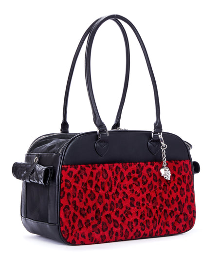 Lux Pet Carrier Black Matte and Venom Red Sparkle