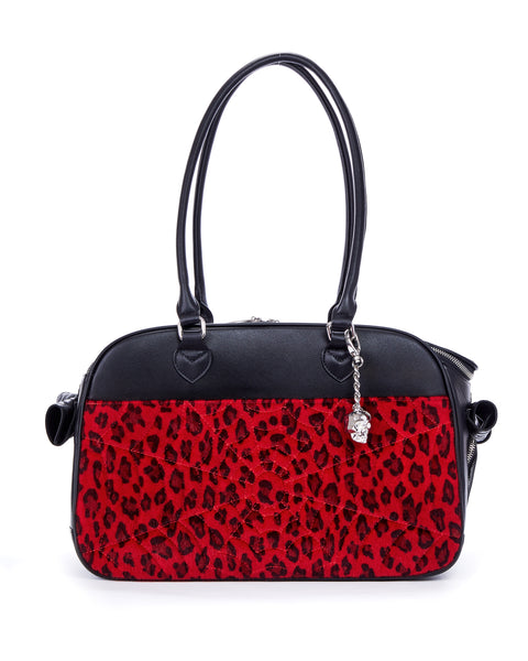 Elvira Lux Pet Carrier Black Matte and Red Leopard - Mini Atomic Totes