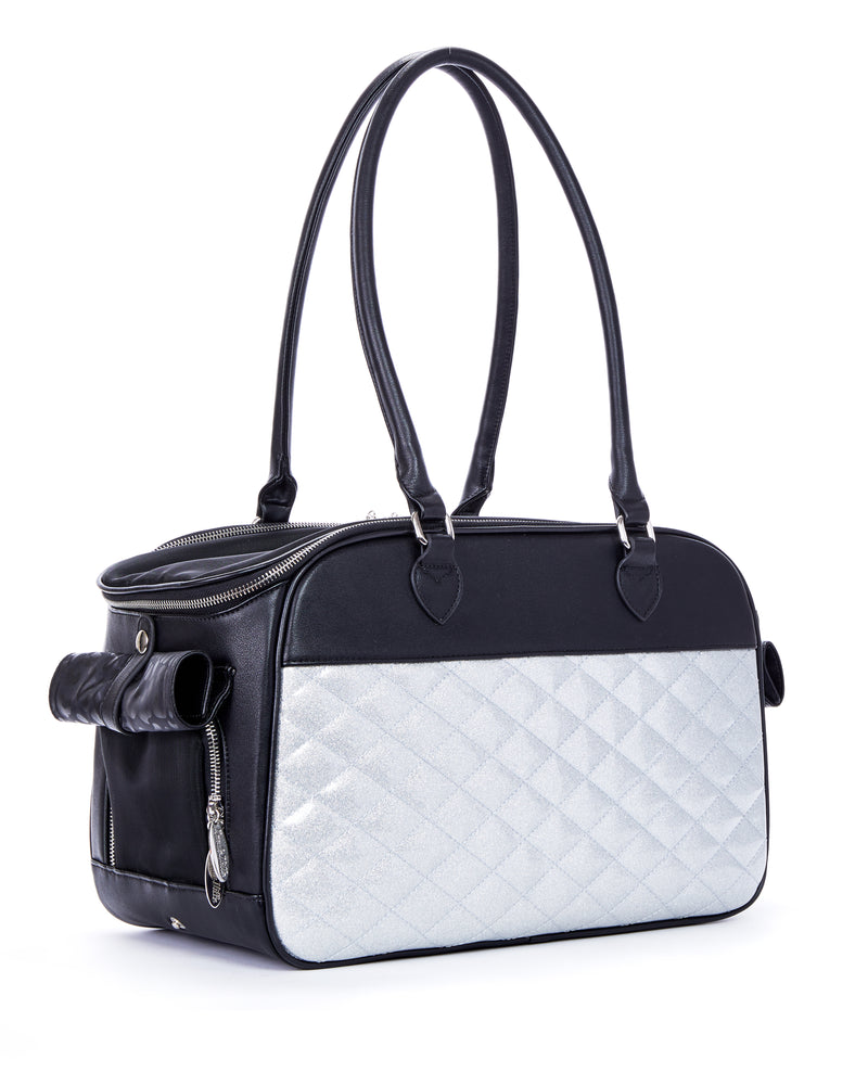 Black Matte and Silver Thunderstruck Sparkle Lux Pet Carrier - Mini Atomic Totes