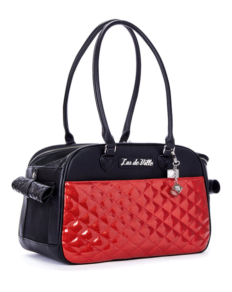 Lux Pet Carrier Black Matte and Venom Red Sparkle - Mini Atomic Totes