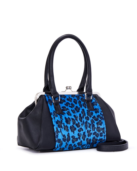 Sweet Pea Kiss Lock Blue Leopard and Black Matte - Limited Edition - Mini Atomic Totes