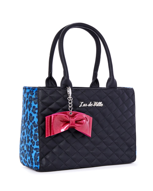 Sweet Pea Tote Blue Leopard and Black Matte - Limited Edition