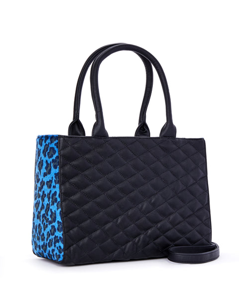 Sweet Pea Tote Blue Leopard and Black Matte - Limited Edition - Mini Atomic Totes
