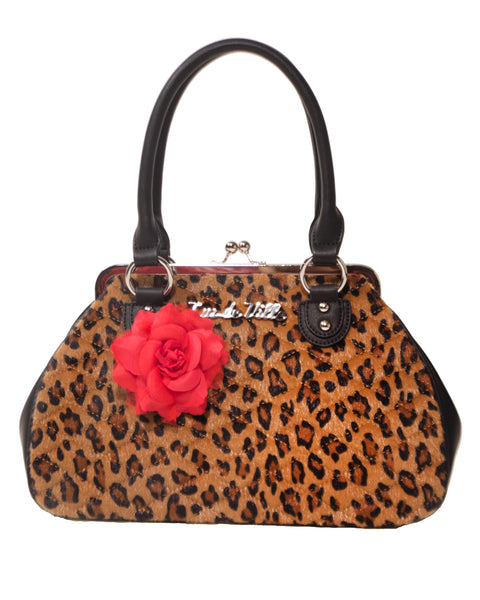 Black Dahlia Kiss Lock Brown Leopard - Mini Atomic Totes