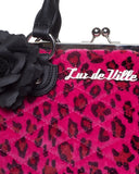 Black Dahlia Kiss Lock Pink Leopard - Mini Atomic Totes