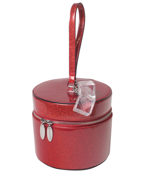 Mini Taylor Hat Box Venom Red Sparkle - Mini Atomic Totes