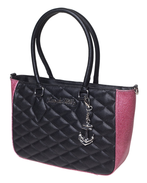 Hold Fast Tote Black Matte and Pink Bubbly Sparkle - Mini Atomic Totes