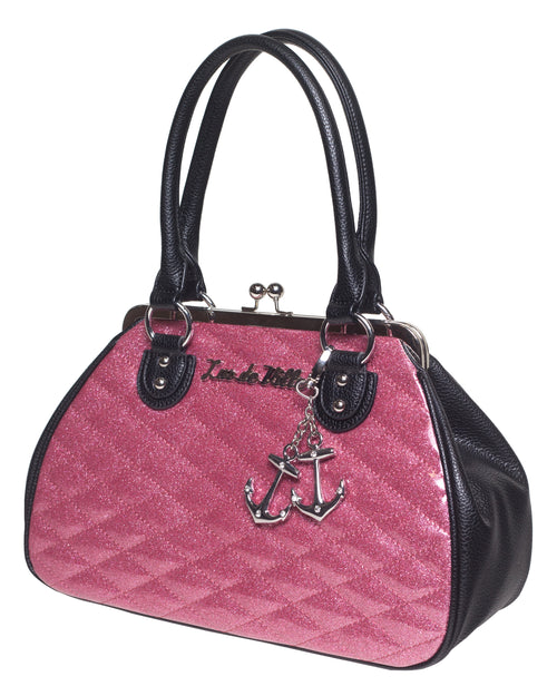 Hold Fast Kiss Lock Black Matte and Pink Bubbly Sparkle - Mini Atomic Totes