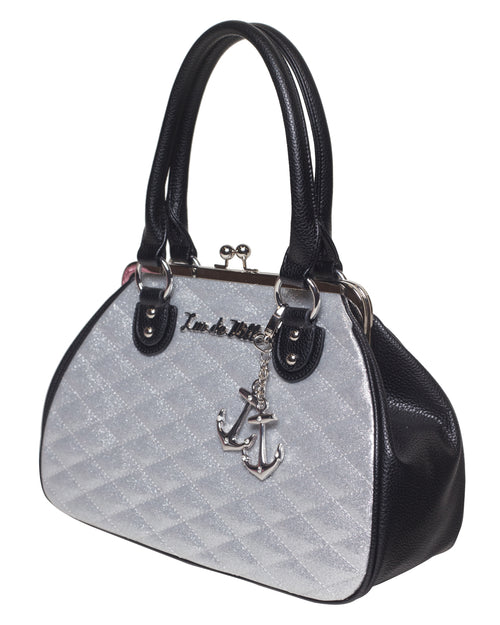 Hold Fast Kiss Lock Black Matte and Silver Thunderstruck Sparkle - Mini Atomic Totes