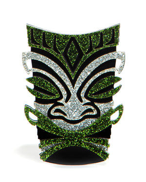 Martini Green Sparkle Tiki Brooch Pin - Mini Atomic Totes