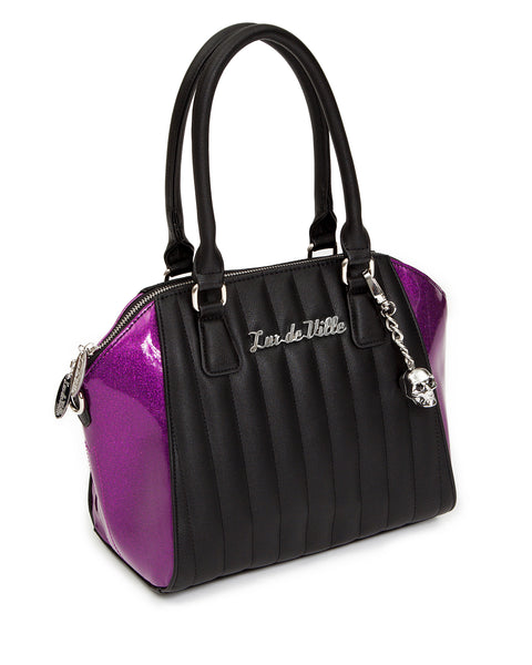 Lady Vamp Tote Black Matte with Electric Purple Sparkle - Mini Atomic Totes