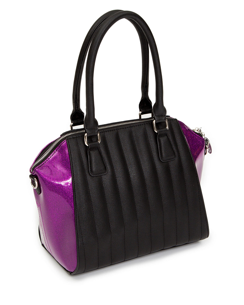 Lady Vamp Handbag Black Matte with Electric Purple Sparkle - Mini Atomic Totes