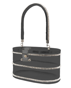 Beauty Queen Black Clear Lucite Purse - Mini Atomic Totes