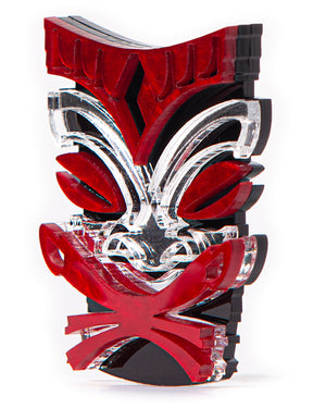 Crimson Red Tiki Brooch Pin - Mini Atomic Totes