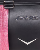Small Carry All Tote Matte Black and Pink Bubbly Sparkle