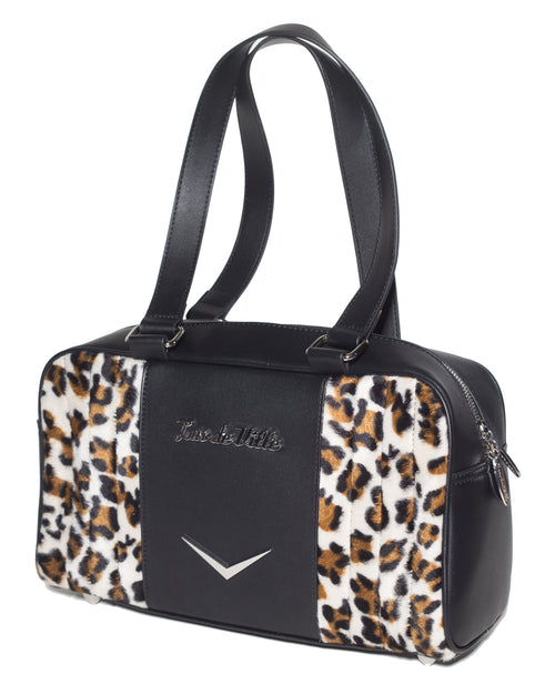 Small Carry All Tote Matte Black and Leopard - Mini Atomic Totes