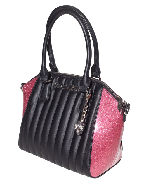 Lady Vamp Tote Black Matte and Pink Bubbly Sparkle - Mini Atomic Totes