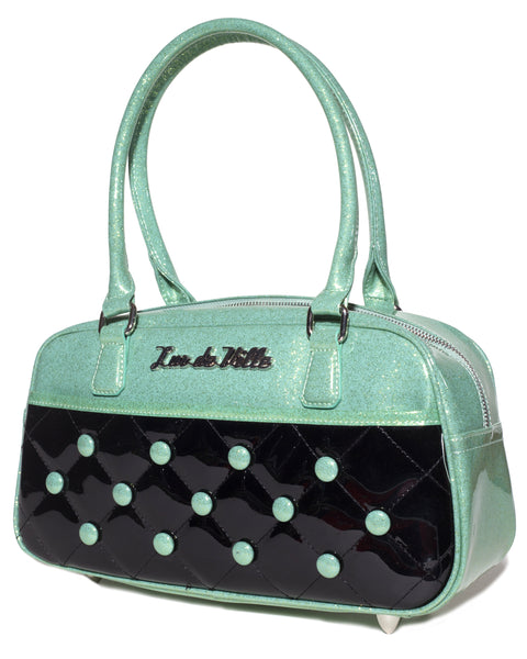 Cosmic Tote Small Black and Baby Green Sparkles - Mini Atomic Totes