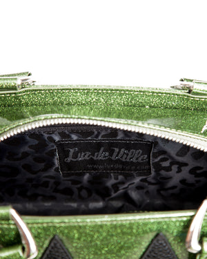 Mini High Roller Handbag Tote Martini Green Sparkle with Black Matte - Mini Atomic Totes