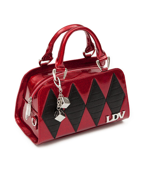 Mini High Roller Tote Red Crimson Sparkle with Black Matte - Mini Atomic Totes
