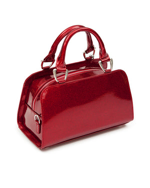 Red Crimson Sparkle with Black Matte Mini High Roller Handbag Tote - Mini Atomic Totes