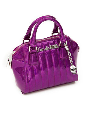 Mini Lady Vamp Handbag Electric Purple Sparkle - Mini Atomic Totes