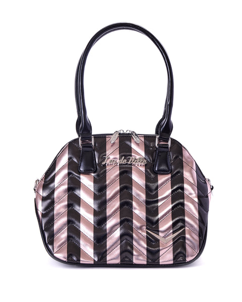 Chevron Queen Rose Gold Metallic with Black Stripes - Mini Atomic Totes